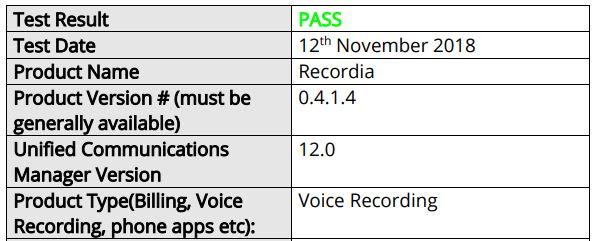 22.11.2018. MADRID – Comunycarse se anuncia una nueva certificación de la solución Recordia, en esta oportunidad bajo la plataforma de CISCO, en específico con su Cisco Unified Communications Manager (CUCM) conocido anteriormente CallManager. El CUCM es una tecnología de administración de comunicaciones basada en el protocolo de Internet (IP) que brinda soporte para voz, vídeo, mensajería, movilidad y conferencias web. Las capacidades de esta plataforma de Cisco incluyen el procesamiento de llamadas (origen de la llamada, enrutamiento y terminación de la llamada), administración de la función de la llamada (retención, transferencia, reenvío, conferencia y otros), servicios de directorio, interfaz de programación de aplicaciones de programación (API) y utilidades de copia de seguridad y restauración. Recordia obtiene la certificación de Cisco que garantiza la perfecta integración y funcionamiento con la última versión de CUCM (12.0) de Cisco, logrando capturar todas las interacciones y almacenarlas de forma segura en el Cloud, con la posibilidad de explotación del dato a través de Speech Analytics para la transcripción, análisis o procesamiento, para obtener información oculta de valor. Recordia se está convirtiendo rápidamente en una referencia en la integridad de la información del cliente, que se cita cada vez más como una preocupación comercial debido a las recientes regulaciones como MiFID II y GDPR. Recordia se integra a la perfección con Cisco y los CRM más utilizados, como Microsoft Dynamics y Salesforce.