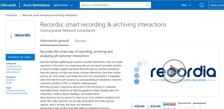 Recordia ahora está disponible en Microsoft® Azure y Microsoft® AppSource marketplace
